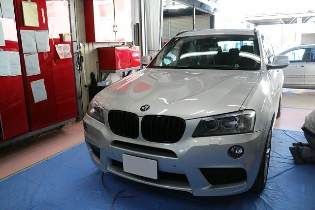BMW X3 Mスポが車両販売で入庫。オーディオ300万円位かかってます。